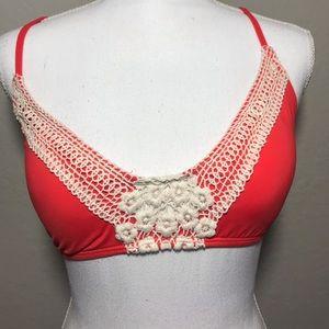 Lucky Brand Crochet-Cross Bikini Top